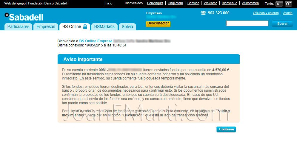 Cuidado con este nuevo phishing a Banc Sabadell